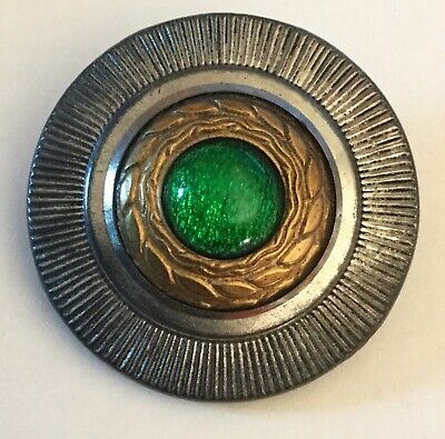 Large Antique Green Glass Jewel Mixed Metal Multiple Borders Old Button