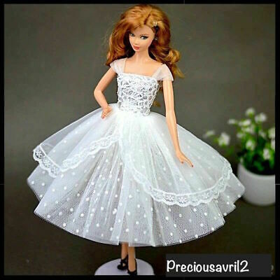 New Barbie doll clothes outfit princess wedding gown white cocktail dress.