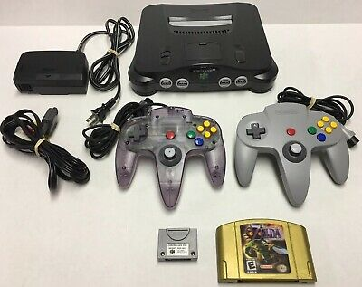 Tested Nintendo 64 N64 Console, 2 Controllers, Paks & Zelda Majora's Mask (Holo)