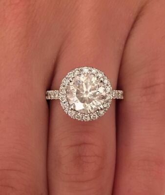 3 ct D Color SI1 Clarity Round Cut Diamond Halo Engagement Ring 14K White Gold