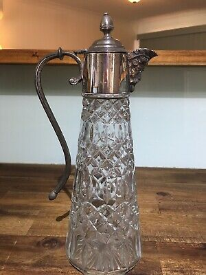 Falstaff Art Nouveau Crystal Silver Plated Decanter Claret Sherry Jug