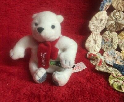 Little Coca-Cola Polar Bear Wearing Red Scarf with Mini Coke Bottle with Tags