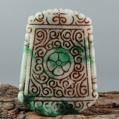 Chinese Exquisite Hand-carved flower Carving jadeite Pendant
