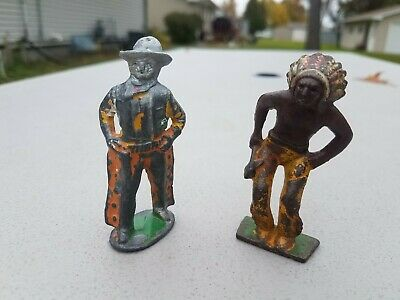 Lot Of 2 Antique Cast Iron Metal Steel Toys Cowboy & Indian Figurines Figures