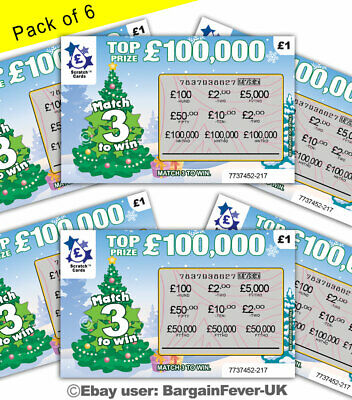 Funny Xmas Card Joke -  Fake Win Lottery Scratch Cards Scratchcard Tickets