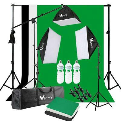 Photo Studio Black White Green Backdrop Screen Stand 3x 65W Softbox Lighting Kit
