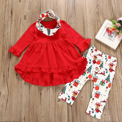 Toddler Kids Baby Girls Long Sleeve Christmas Print Tops Pants Scarves Outfits