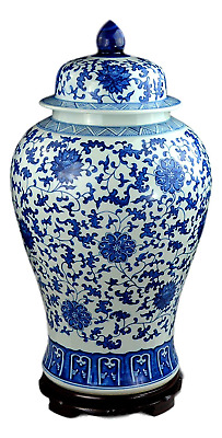 "Festcool 24"" Classic Blue and White Floral Porcelain Ceramic Temple Ginger Jar"