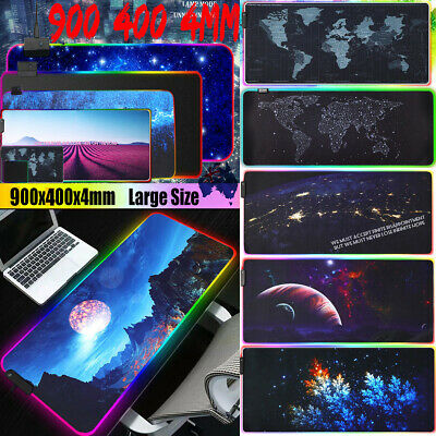 90x40CM Large RGB Colorful LED Lighting Gaming Mouse Pad Mat For PC Laptop AU ❤