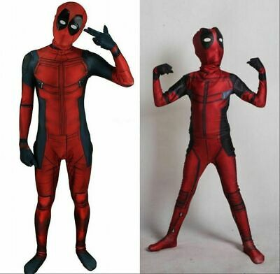 Deadpool Lycra spandex/Muscle Cosplay Adult & Kid Jumpsuit Costume fancy outfit