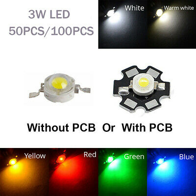 50 100pcs Light Beads 3W SMD High Power LED COB Chip Cool/Warm White Red Green