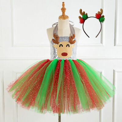 Sequins Kids Girls Xmas Christmas Party Tutu Fancy Dress Costume Outfit+Headband