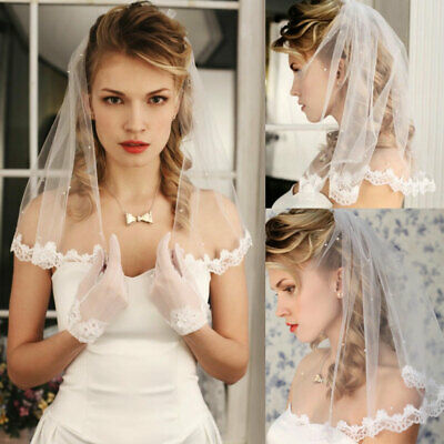 White Ivory Wedding Veils Bridal Accessories Short Length with Comb Appliques