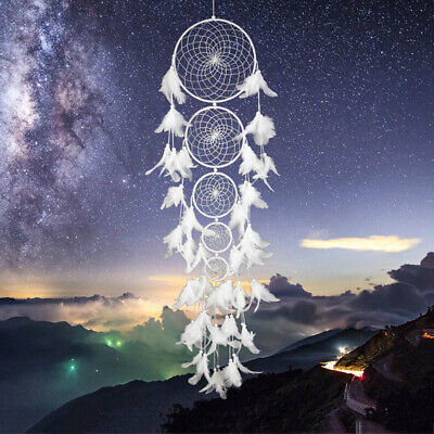 108CM White Dream Catcher W/ Feathers Car Home Wall Hanging Ornament Decor Gift
