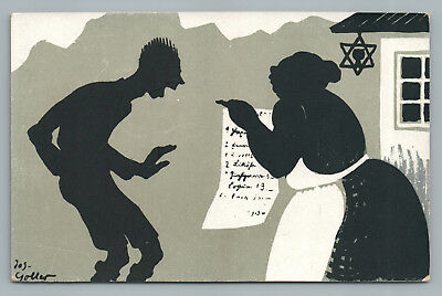 Jewish Mother or Wife Scolding Man—Rare Antique Judaica Stereotype Cartoon 1910s