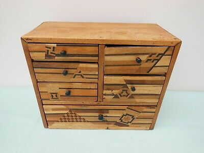 Apprentice Sample Piece Miniature Inlaid Chest of Drawers Collectors Cabinet Box