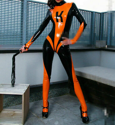 Sports Cool 2019 New Latex Rubber Sexy Orange and Black Full Body Catsuit S-XXL
