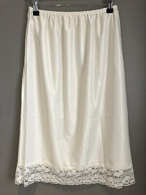NEW IVORY Cream Waist Half Slip Petticoat Underskirt LACE HEM Knee Length DAMART