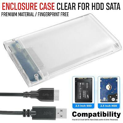 2.5 Inch USB 3.0 to SATA Hard Disk Drive Enclosure Clear External HDD Case