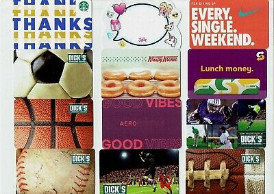 Gift Cards / Collectible -YOU CHOOSE 3 for $1.59 - NIKE, Donuts,Starbucks,Soccer