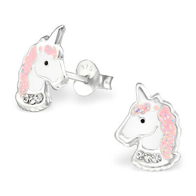 ICYROSE Sterling Silver Pink Crystal Unicorn Girls Kids Stud Earrings 3505