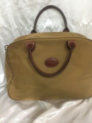 "LONGCHAMP VTG LUGGAGE CARRY-ON SUITCASE Travel Bag W/LEATHER TRIM 15""x10""x4"""