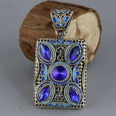 Collectable China Old Miao Silver Cloisonne Hand-Carved Exquisite Decor Pendant