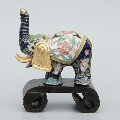 Collectable Handwork China Old Cloisonne Carve Lovely Elephant Delicate Statue