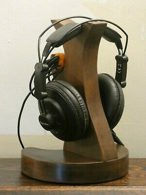 Handmade in UK  reclaimed Mahogany headphone stand with integrated cable tidy