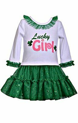 St Patrick/'s Day SALE White Green Pink BONNIE JEAN  Lucky Girl Dress NWT!