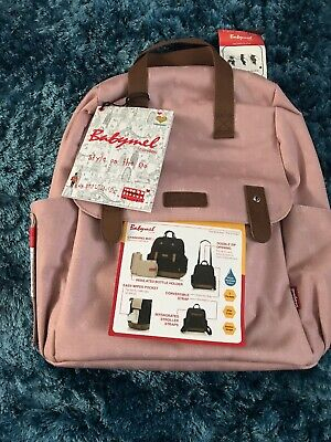 BNWT Babymel Robyn Changing Bag Backpack Convertible Dusty Pink Origami