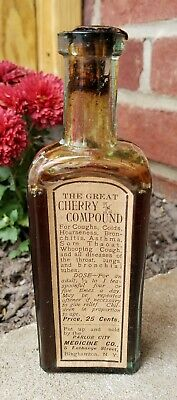 "RARE Antique Crude Medicine Bottle ""The Great Cherry Compound"" Binghamton NY"