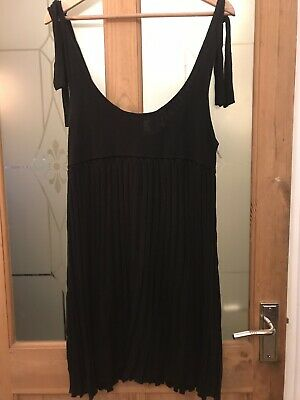 Black Knitted Shoulder Tie Scoop Neck Pleated Dress Size 16