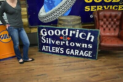 Vintage 1930's Goodrich Tires Gas Station Porcelain Sign Atler's Service Station