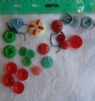 Lot Mixed Light Blue Red Green Buttons  1940's 1950's Plastic