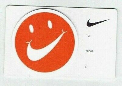 NIKE Gift Card - Collectible / No Value - Die-Cut Smiley Face with swoosh mouth
