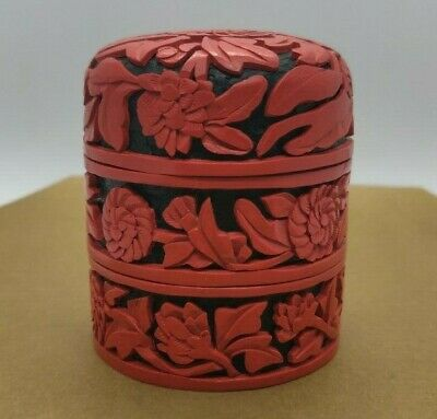 Rare Antique Three Piece Carved Design Cinnabar Trinket Box With Enamel Inside
