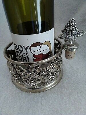 Silver Plated Wine Bottle Holder With Matching Stopper