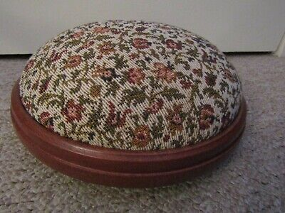 A Nice Vintage Small Tapestry Effect Upholstered Low Round Wooden Footstool.
