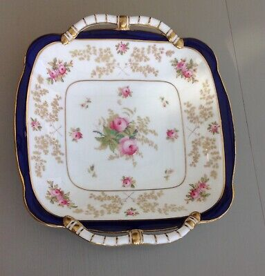 Beautiful, antique Coalport hand painted, gilded Square dish with roses.