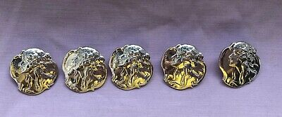 5  Hallmarked Art Nouveau Style Lady Sterling Silver Button