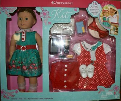 """American Girl *KIT DELUXE 16 pc BOXED SET* 18"""" Doll~2 Outfits~Bk~Accessories~NIB"""
