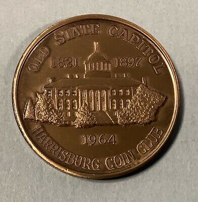 Harrisburg Pennsylvia 1964 Coin club token Old State Capital Camel Back Bridge