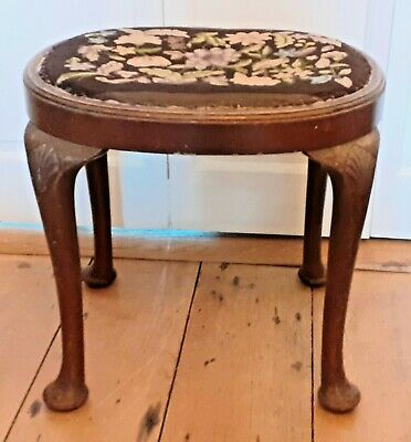 Antique / Vintage Oval Top Stool Dressing Table/ Piano Stool Upholstered Embroid