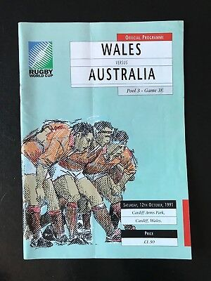 9514 - Rugby World Cup 1991 RWC - Wales v Australia Programme 12/10/1991