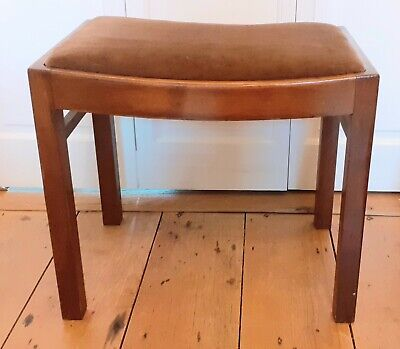 Vintage Solid Wooden  Stool With Upholstered Seat Dressing Table / Piano Stool