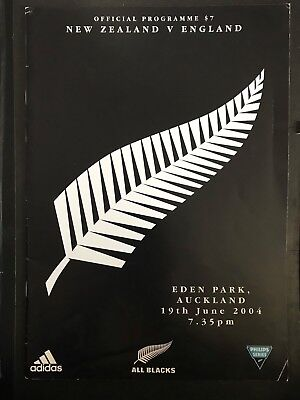 3109 - New Zealand v ENGLAND 2004 Rugby Programme 19th June All Blacks 19/06