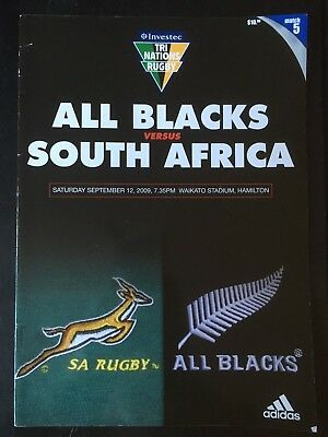 3241 New Zealand v SOUTH AFRICA 2009 Rugby# Programme 12th Sept All Blacks 12/09