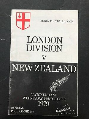 3591 - ALL BLACKS 1979 tour: London Division v New Zealand Rugby Programme