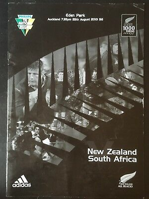 3234 New Zealand v SOUTH AFRICA 2001 Rugby Programme 25th Aug All Blacks 25/08